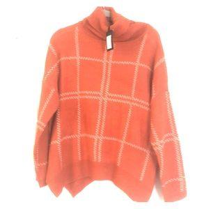 Orange Plaid Sweater NWT M/L